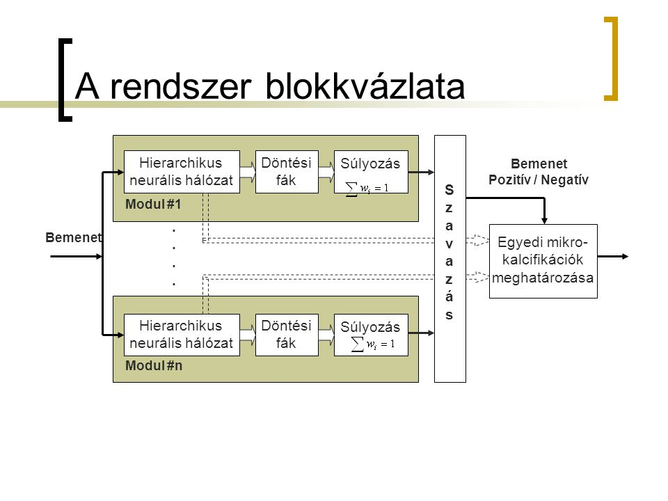 A rendszer blokkvázlata Bemenet........ SzavazásSzavazás Egyedi mikro- kalcifikációk meghatározása Bemenet Pozitív / Negatív Hierarchikus neurális hál