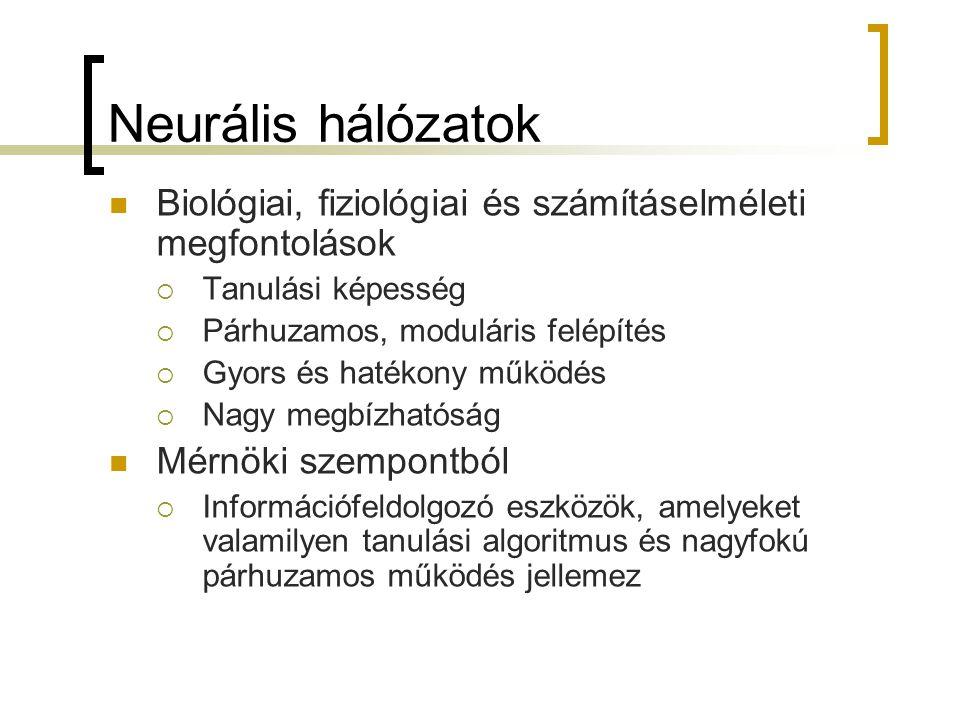 Neurális hálózatok Biológiai, fiziológiai és számításelméleti megfontolások  Tanulási képesség  Párhuzamos, moduláris felépítés  Gyors és hatékony