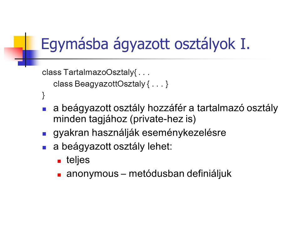 Egymásba ágyazott osztályok I. class TartalmazoOsztaly{...