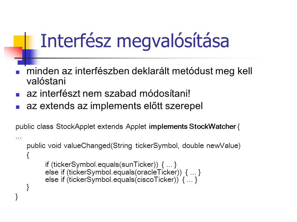 Interfész megvalósítása minden az interfészben deklarált metódust meg kell valóstani az interfészt nem szabad módosítani.