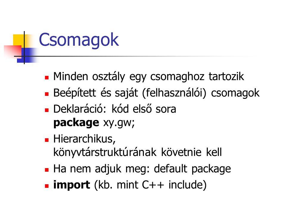 Csomagok Minden osztály egy csomaghoz tartozik Beépített és saját (felhasználói) csomagok Deklaráció: kód első sora package xy.gw; Hierarchikus, könyvtárstruktúrának követnie kell Ha nem adjuk meg: default package import (kb.