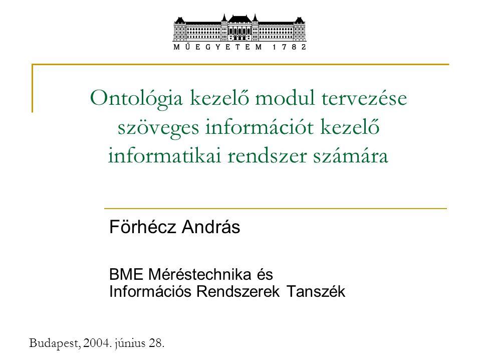 Budapest, 2004. június 28. Ontológia kezelő modul tervezése szöveges információt kezelő informatikai rendszer számára Förhécz András BME Méréstechnika
