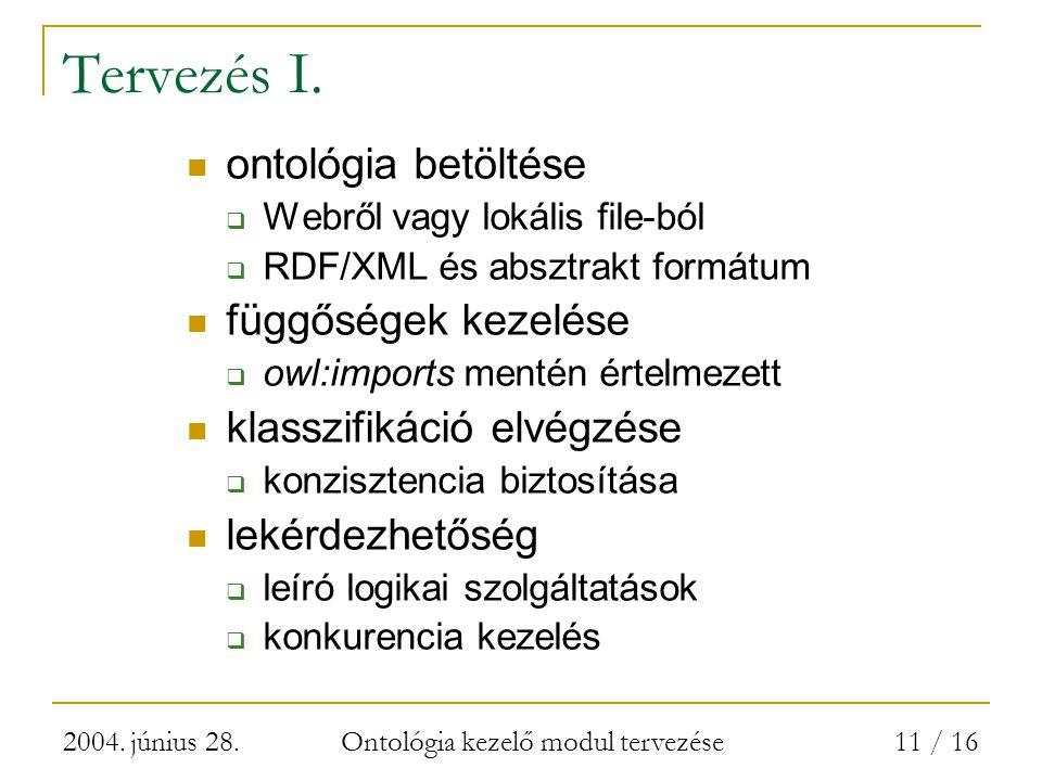 2004. június 28. Ontológia kezelő modul tervezése 11 / 16 Tervezés I.