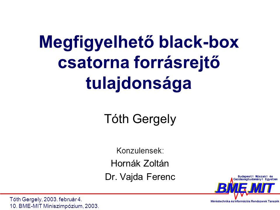 Tóth Gergely, 2003. február 4. 10. BME-MIT Miniszimpózium, 2003.