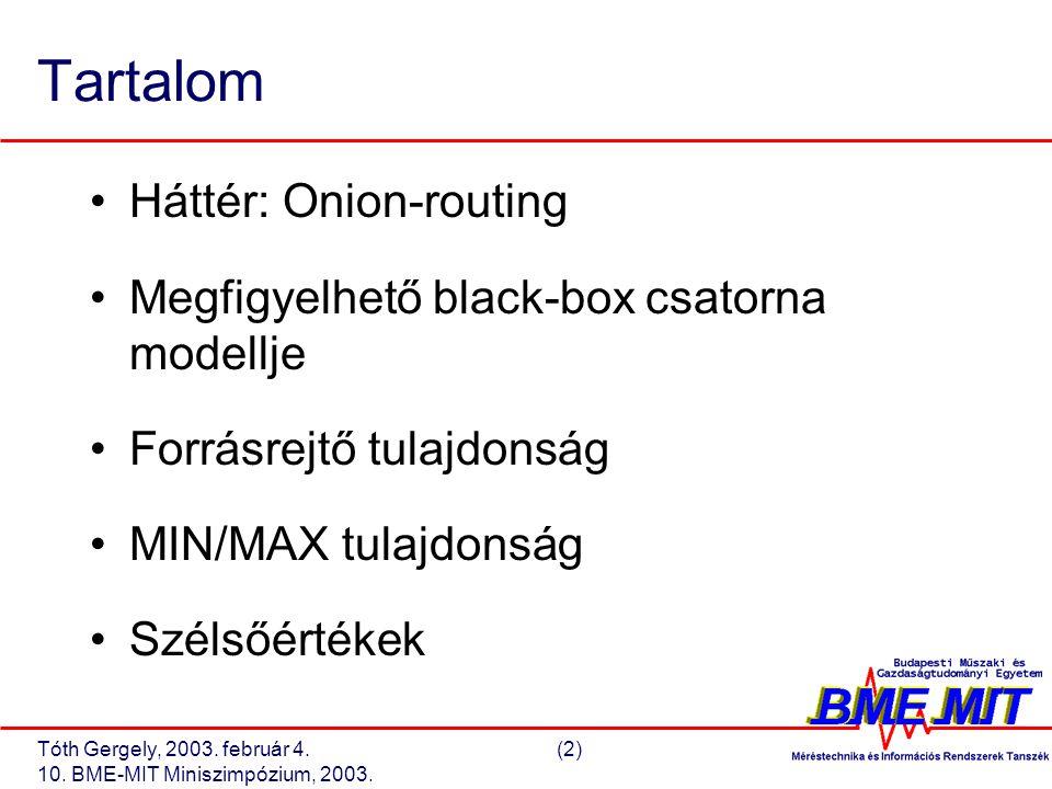 Tóth Gergely, 2003. február 4.(2) 10. BME-MIT Miniszimpózium, 2003.