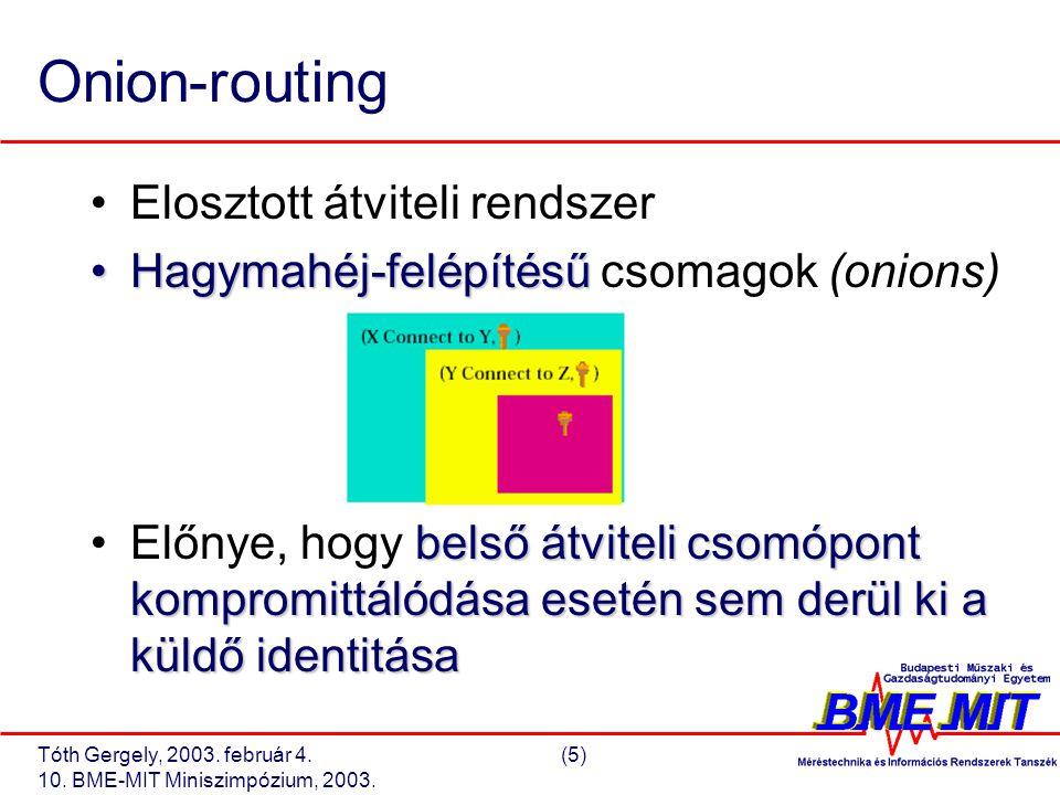 Tóth Gergely, 2003. február 4.(5) 10. BME-MIT Miniszimpózium, 2003.