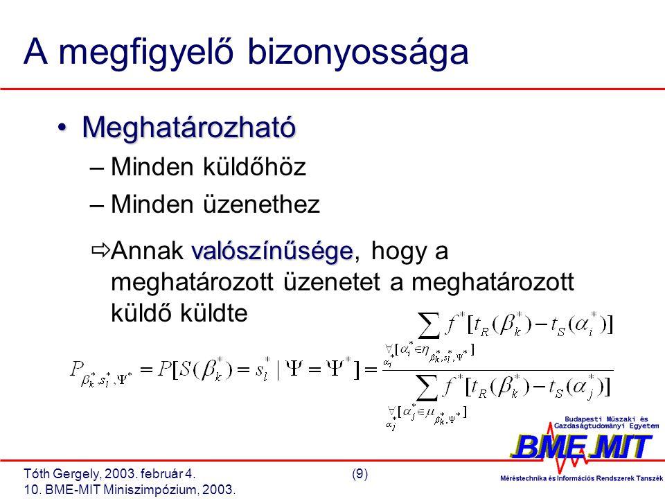 Tóth Gergely, 2003. február 4.(9) 10. BME-MIT Miniszimpózium, 2003.