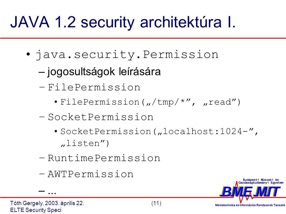 Tóth Gergely, 2003. április 22.(11) ELTE Security Speci JAVA 1.2 security architektúra I.