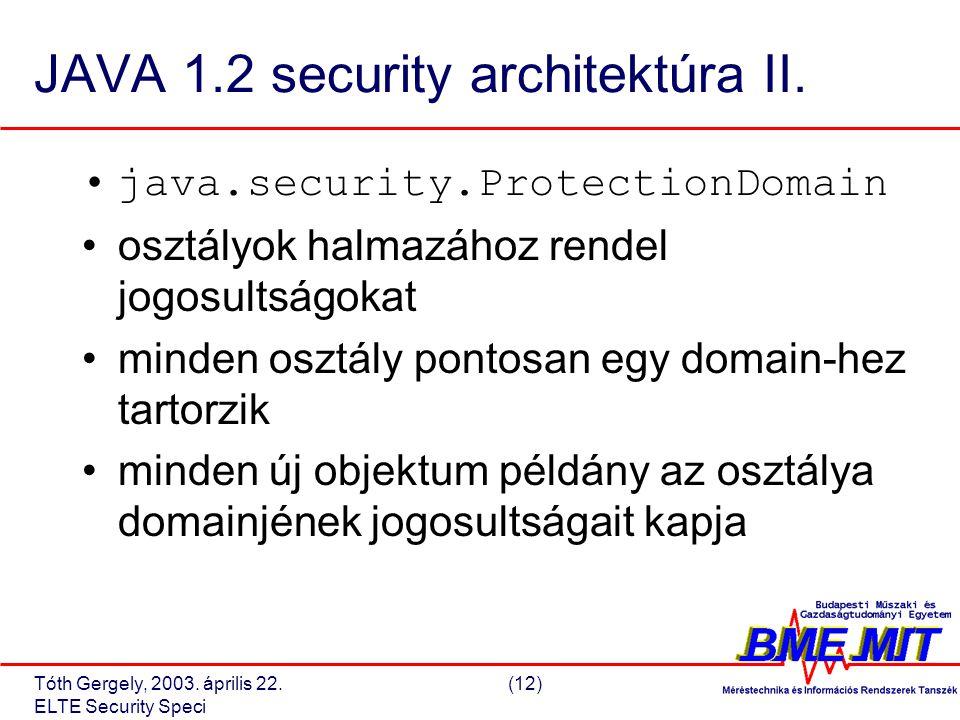 Tóth Gergely, 2003. április 22.(12) ELTE Security Speci JAVA 1.2 security architektúra II.