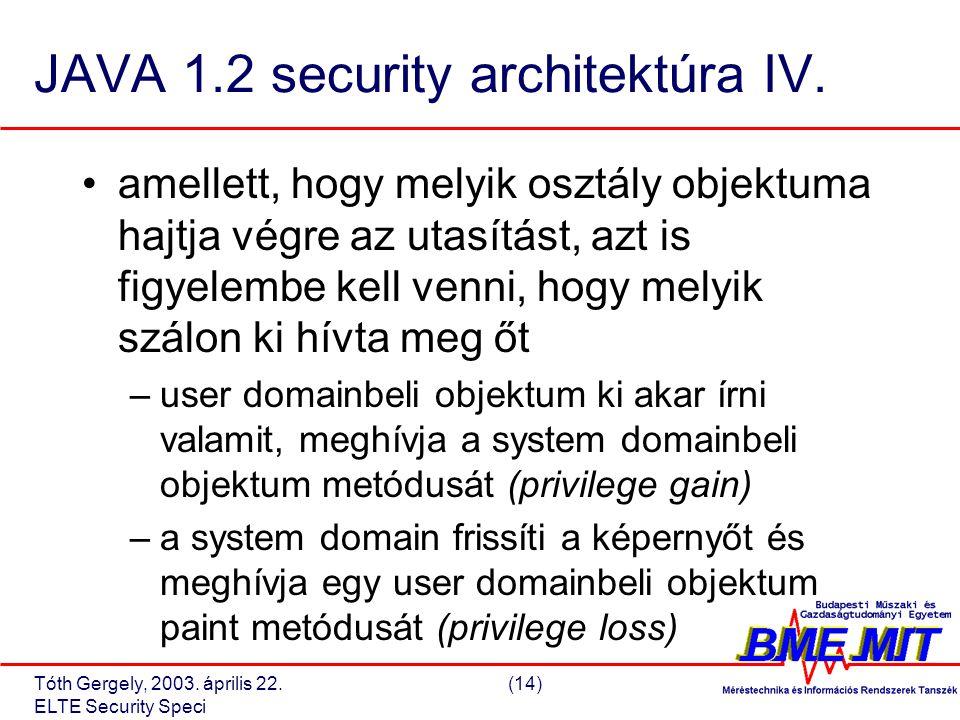 Tóth Gergely, 2003. április 22.(14) ELTE Security Speci JAVA 1.2 security architektúra IV.