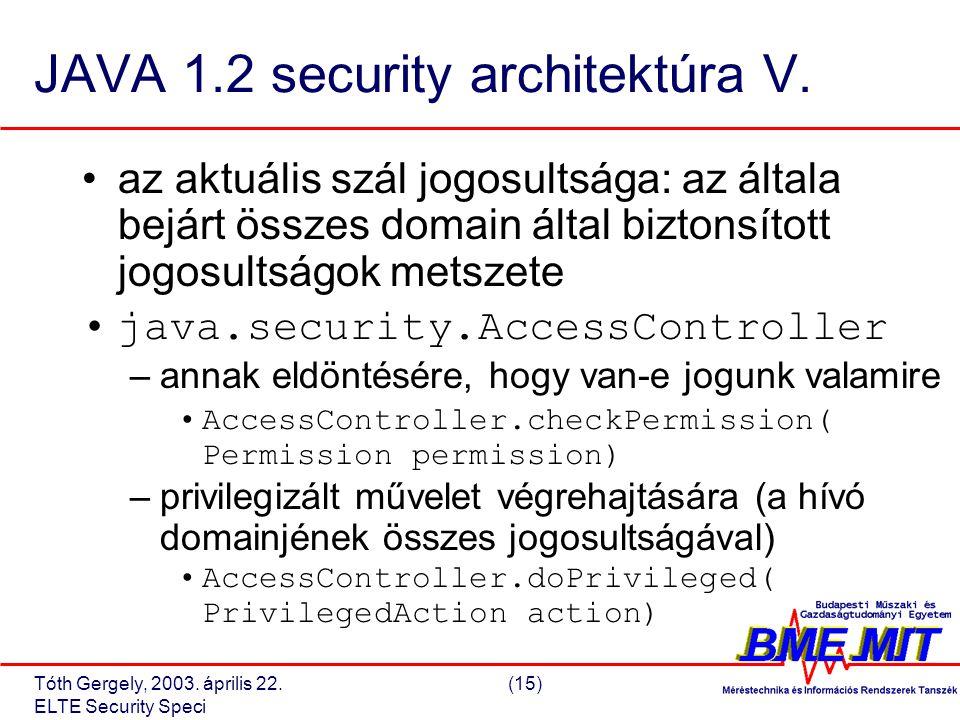 Tóth Gergely, 2003. április 22.(15) ELTE Security Speci JAVA 1.2 security architektúra V.