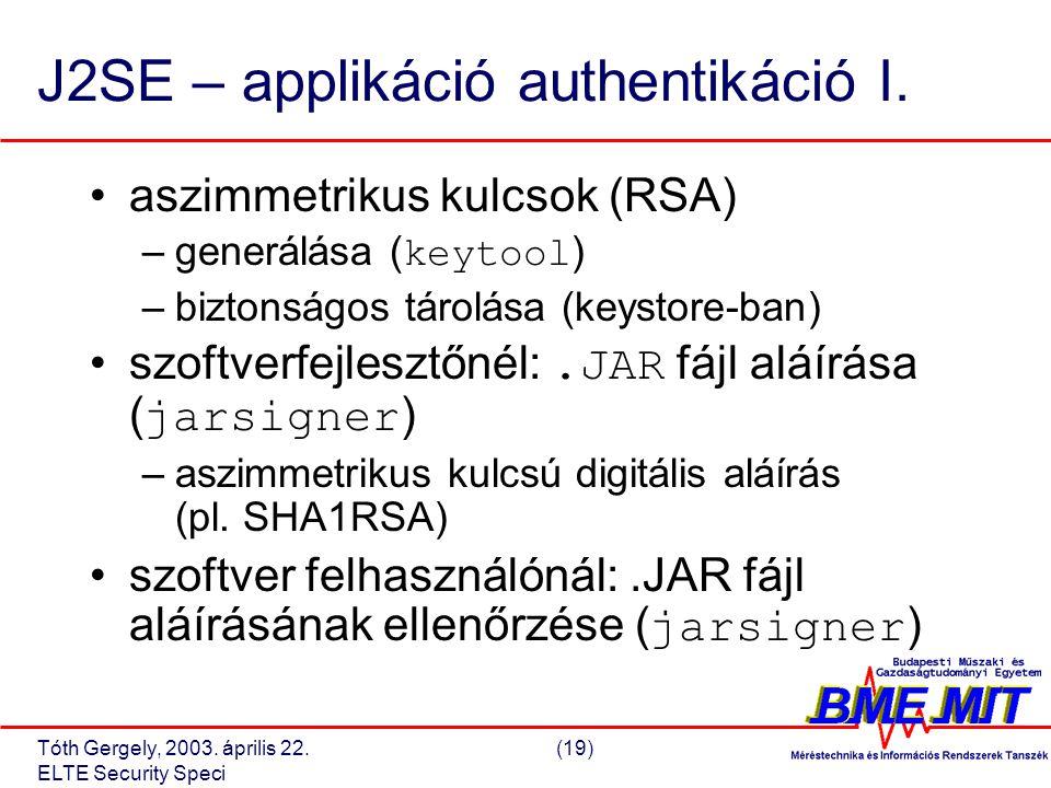 Tóth Gergely, 2003. április 22.(19) ELTE Security Speci J2SE – applikáció authentikáció I.