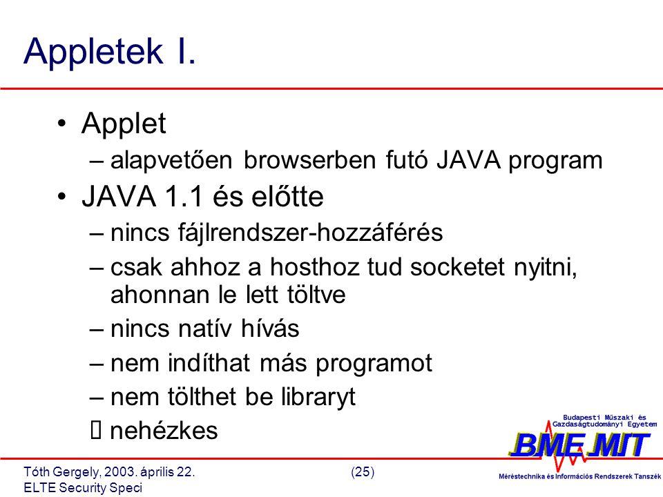 Tóth Gergely, 2003. április 22.(25) ELTE Security Speci Appletek I.