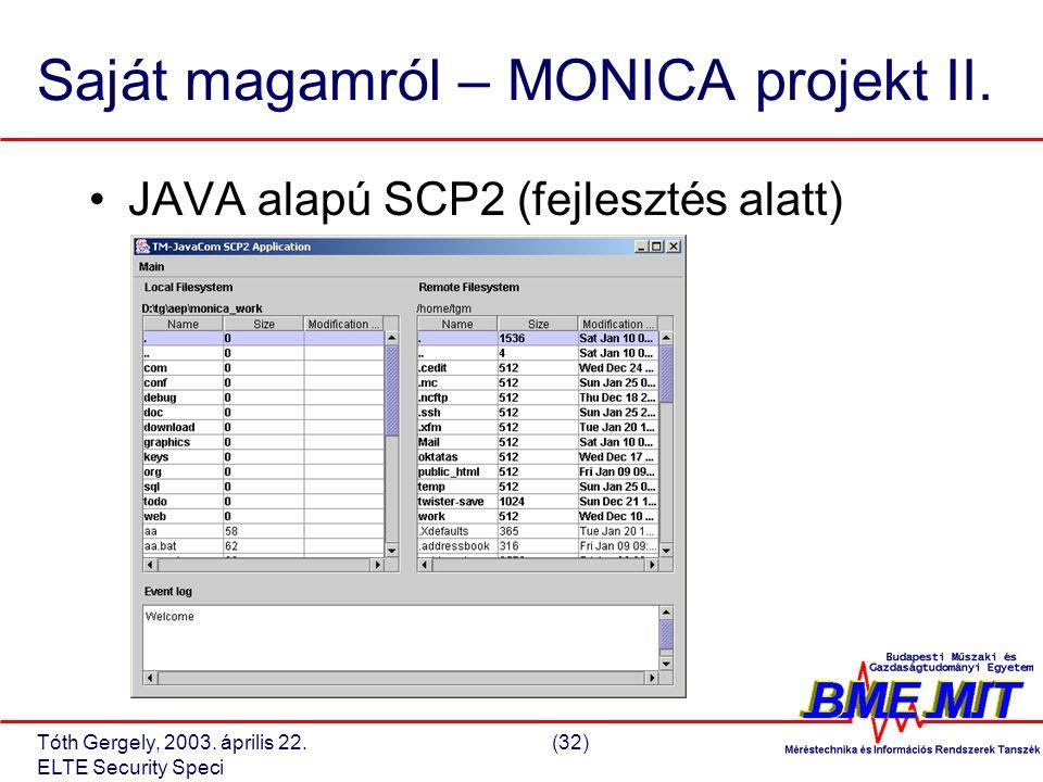 Tóth Gergely, 2003. április 22.(32) ELTE Security Speci Saját magamról – MONICA projekt II.
