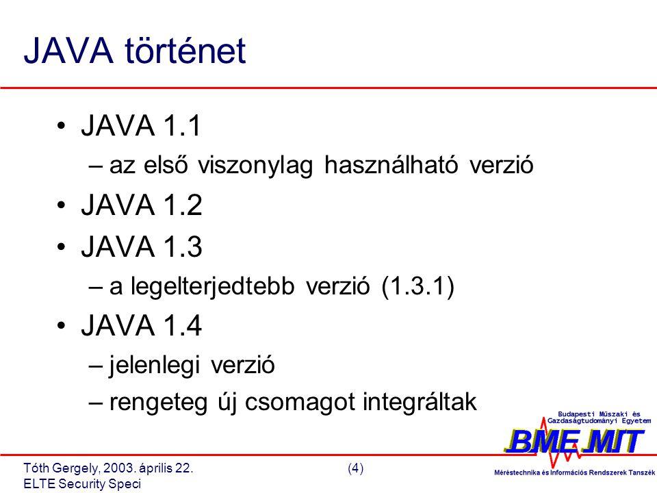 Tóth Gergely, 2003.április 22.(15) ELTE Security Speci JAVA 1.2 security architektúra V.