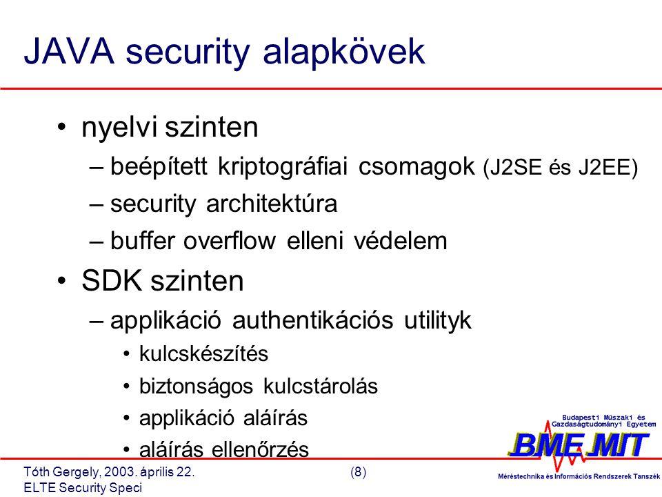 Tóth Gergely, 2003.április 22.(19) ELTE Security Speci J2SE – applikáció authentikáció I.