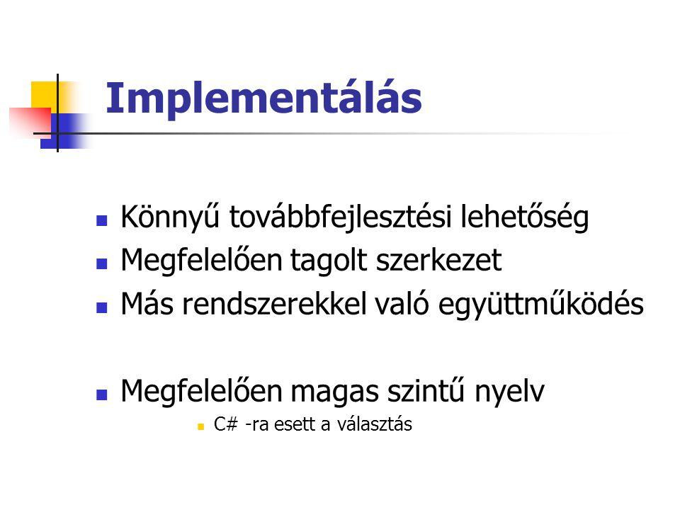 Implementálás Könnyű továbbfejlesztési lehetőség Megfelelően tagolt szerkezet Más rendszerekkel való együttműködés Megfelelően magas szintű nyelv C# -