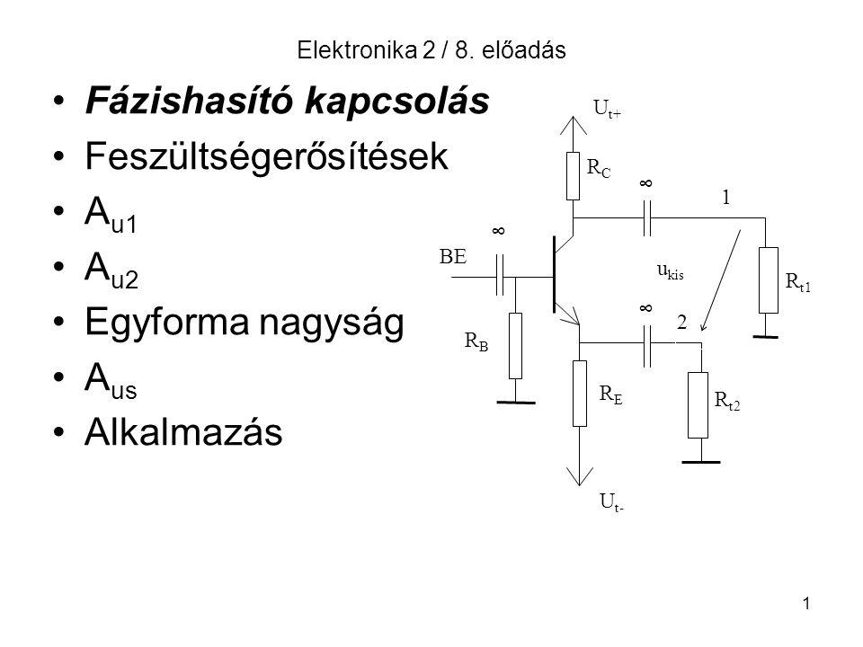 1 Elektronika 2 / 8. előadás Fázishasító kapcsolás Feszültségerősítések A u1 A u2 Egyforma nagyság A us Alkalmazás U t+ U t- RBRB BE ∞ RCRC RERE ∞ ∞ R