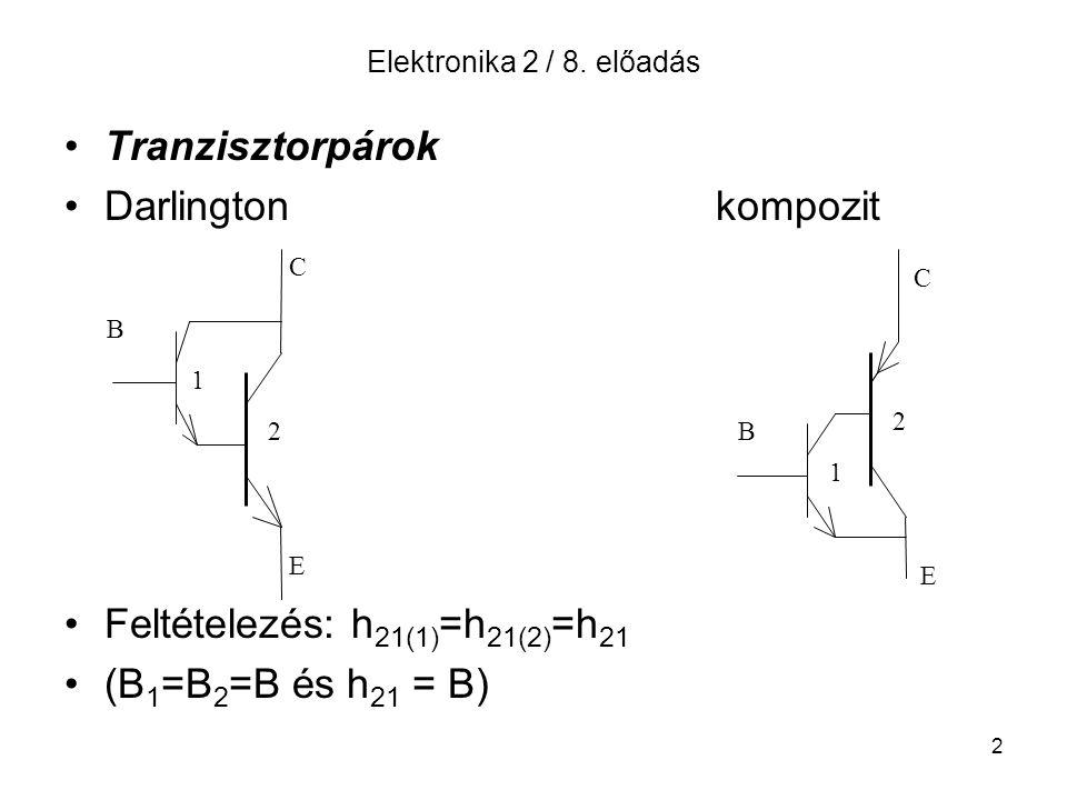 2 Elektronika 2 / 8. előadás Tranzisztorpárok Darlington kompozit Feltételezés: h 21(1) =h 21(2) =h 21 (B 1 =B 2 =B és h 21 = B) B C E 1 2B C E 1 2