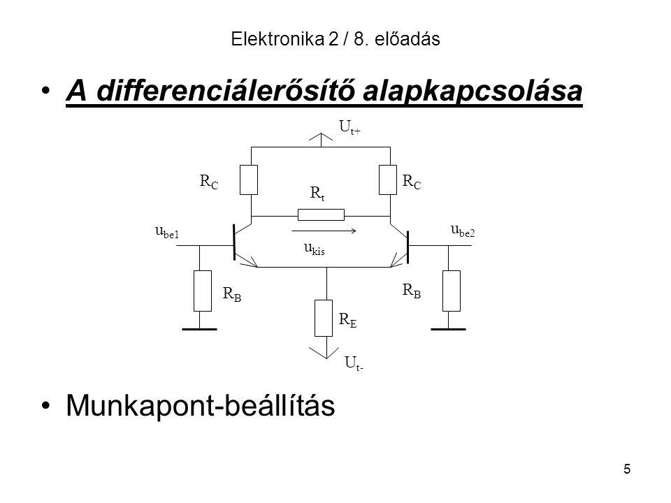 5 Elektronika 2 / 8. előadás A differenciálerősítő alapkapcsolása Munkapont-beállítás U t+ U t- RBRB RBRB RERE RtRt RCRC RCRC u kis u be1 u be2