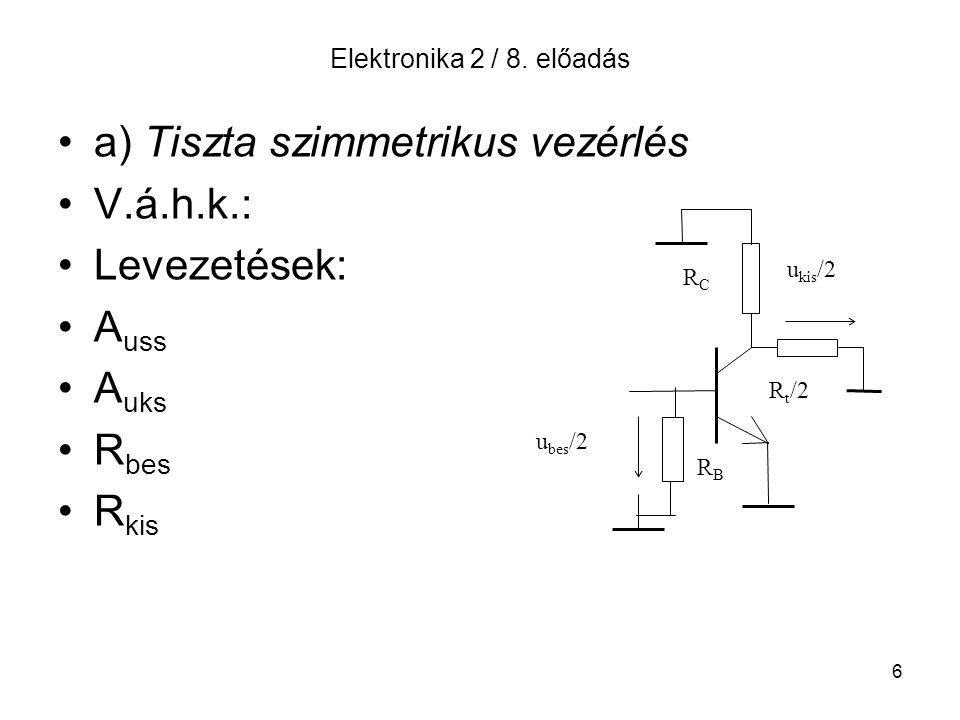 6 Elektronika 2 / 8. előadás a) Tiszta szimmetrikus vezérlés V.á.h.k.: Levezetések: A uss A uks R bes R kis RCRC u kis /2 R t /2 u bes /2 RBRB