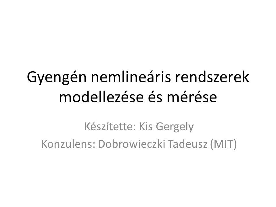 Gyengén nemlineáris rendszerek modellezése és mérése Készítette: Kis Gergely Konzulens: Dobrowieczki Tadeusz (MIT)