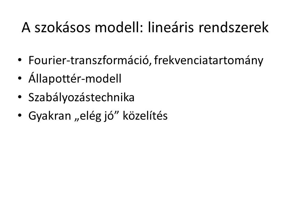 """A szokásos modell: lineáris rendszerek Fourier-transzformáció, frekvenciatartomány Állapottér-modell Szabályozástechnika Gyakran """"elég jó"""" közelítés"""