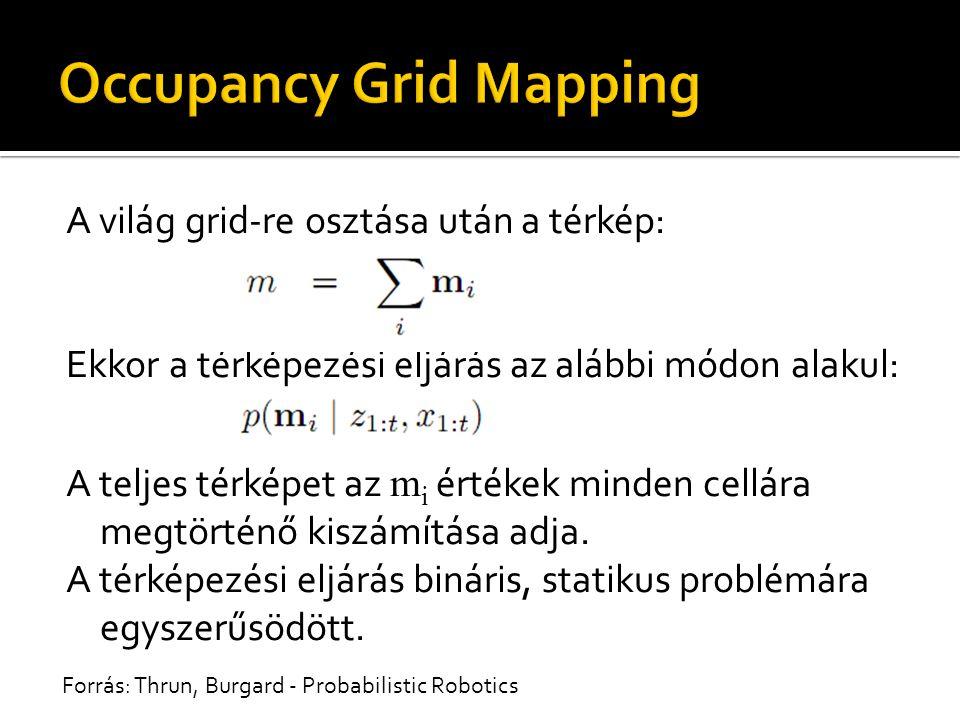 A világ grid-re osztása után a térkép: Ekkor a térképezési eljárás az alábbi módon alakul: A teljes térképet az m i értékek minden cellára megtörténő kiszámítása adja.