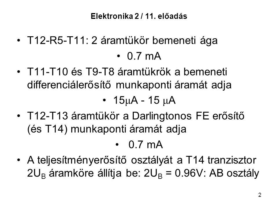 2 Elektronika 2 / 11. előadás T12-R5-T11: 2 áramtükör bemeneti ága 0.7 mA T11-T10 és T9-T8 áramtükrök a bemeneti differenciálerősítő munkaponti áramát