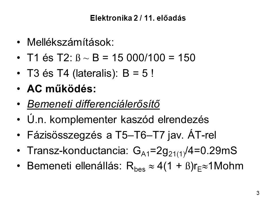 3 Elektronika 2 / 11. előadás Mellékszámítások: T1 és T2: ß ~ B = 15 000/100 = 150 T3 és T4 (lateralis): B = 5 ! AC működés: Bemeneti differenciálerős