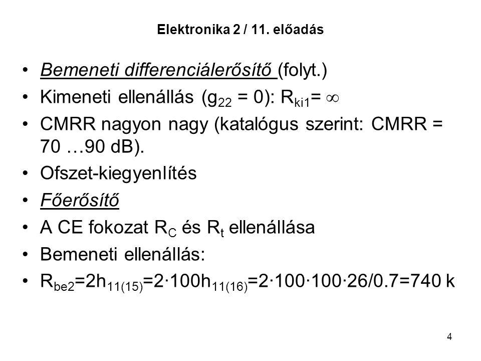 4 Elektronika 2 / 11. előadás Bemeneti differenciálerősítő (folyt.) Kimeneti ellenállás (g 22 = 0): R ki1 = ∞ CMRR nagyon nagy (katalógus szerint: CMR