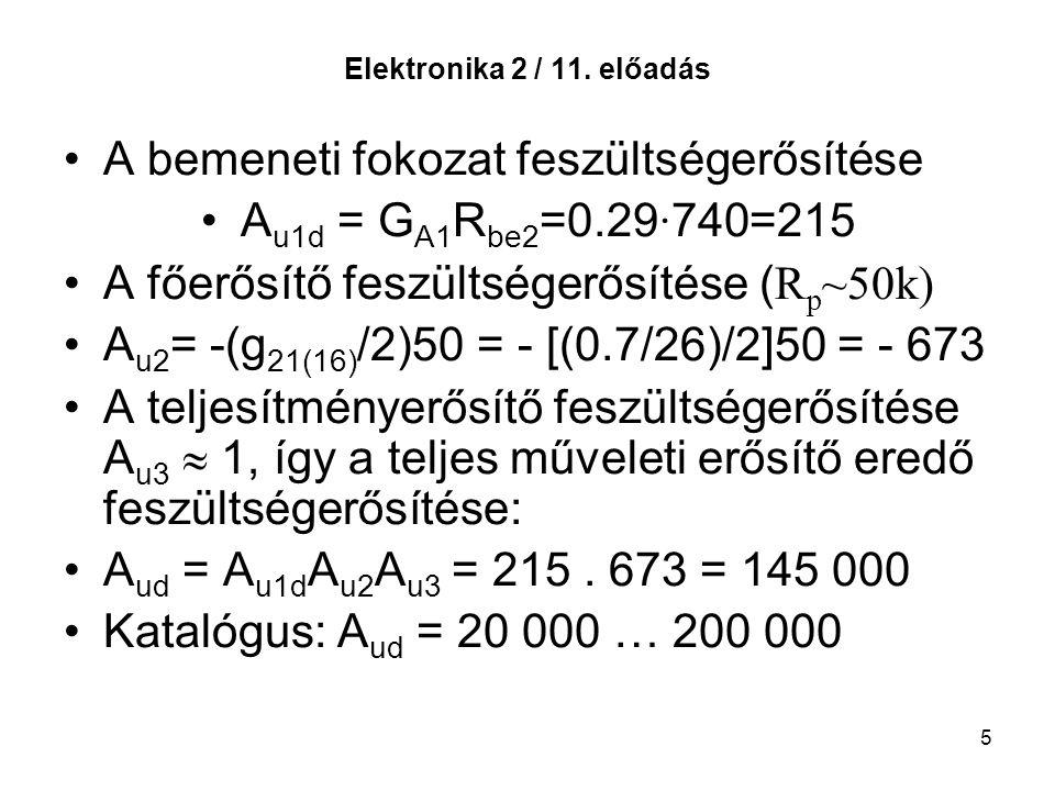 5 Elektronika 2 / 11. előadás A bemeneti fokozat feszültségerősítése A u1d = G A1 R be2 =0.29 · 740=215 A főerősítő feszültségerősítése ( R p ~50k) A