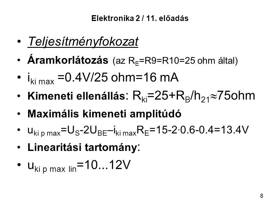 8 Elektronika 2 / 11. előadás Teljesítményfokozat Áramkorlátozás (az R E =R9=R10=25 ohm által) i ki max =0.4V/25 ohm=16 mA Kimeneti ellenállás : R ki