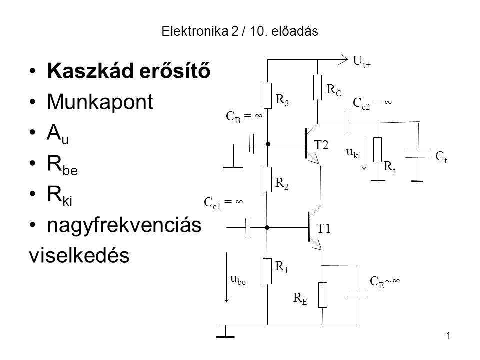 1 Elektronika 2 / 10. előadás Kaszkád erősítő Munkapont A u R be R ki nagyfrekvenciás viselkedés CtCt U t+ RCRC C c2 = ∞ u ki RtRt R3R3 R2R2 R1R1 T2 T