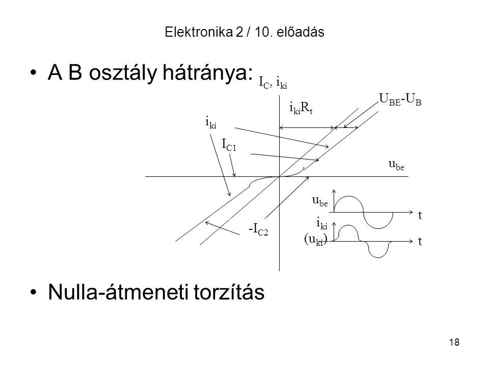 18 Elektronika 2 / 10. előadás A B osztály hátránya: Nulla-átmeneti torzítás I C, i ki i ki R t U BE -U B I C1 i ki -I C2 u be i ki (u ki ) t t