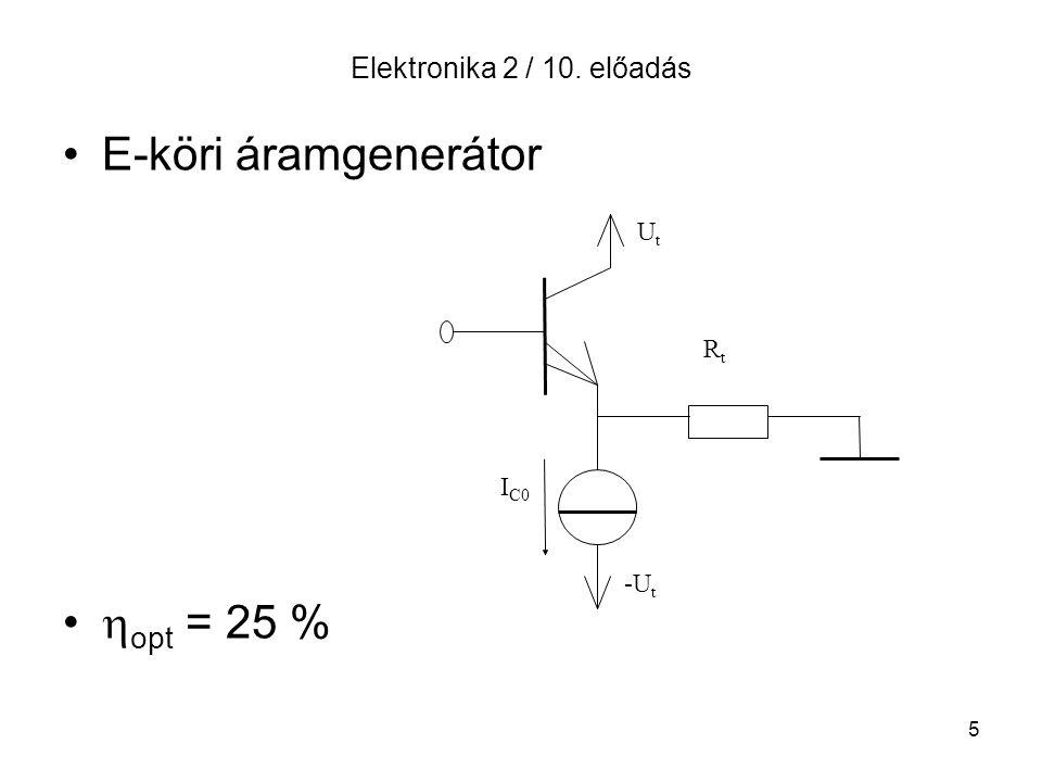 5 Elektronika 2 / 10. előadás E-köri áramgenerátor  opt = 25 % UtUt RtRt I C0 -U t