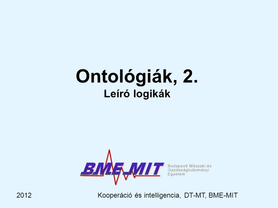 2012Kooperáció és intelligencia, DT-MT, BME-MIT Célkitűzés – egy jó logikai apparátus kategóriák, nem az a lényeges, hogy objektumokból állnak, amiket változókkal kellene követni (kvantor nem kell) lényeges a hierarchia, öröklődés, szerepek, … erőteljes, kifejező néhány egyedi objektumról mégis lehessen beszélni (pl.
