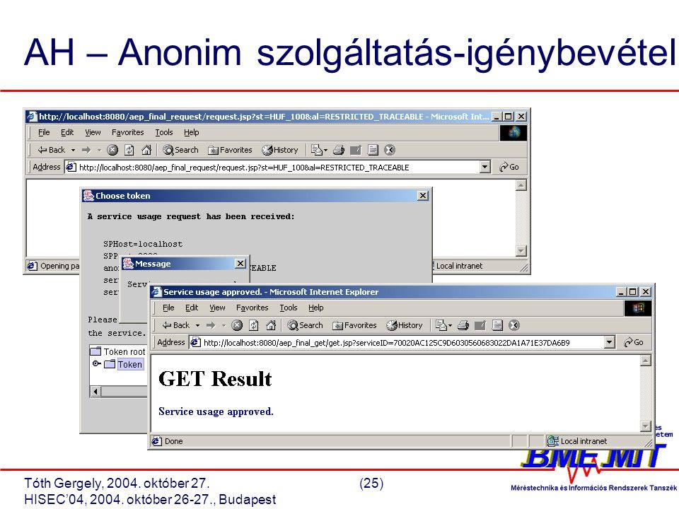 Tóth Gergely, 2004. október 27.(25) HISEC'04, 2004.