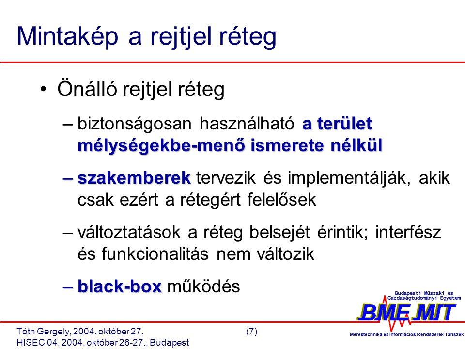 Tóth Gergely, 2004. október 27.(18) HISEC'04, 2004. október 26-27., Budapest Rejtjel réteg