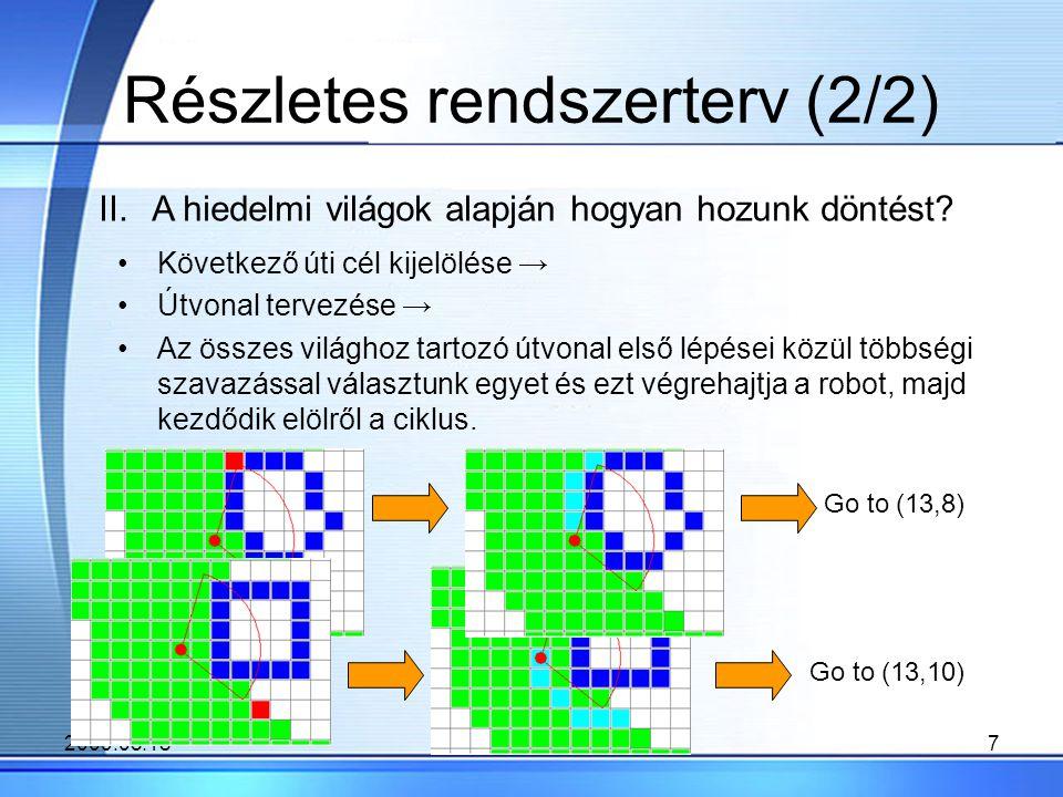 2009.05.187 Részletes rendszerterv (2/2) Következő úti cél kijelölése → Útvonal tervezése → Az összes világhoz tartozó útvonal első lépései közül többségi szavazással választunk egyet és ezt végrehajtja a robot, majd kezdődik elölről a ciklus.