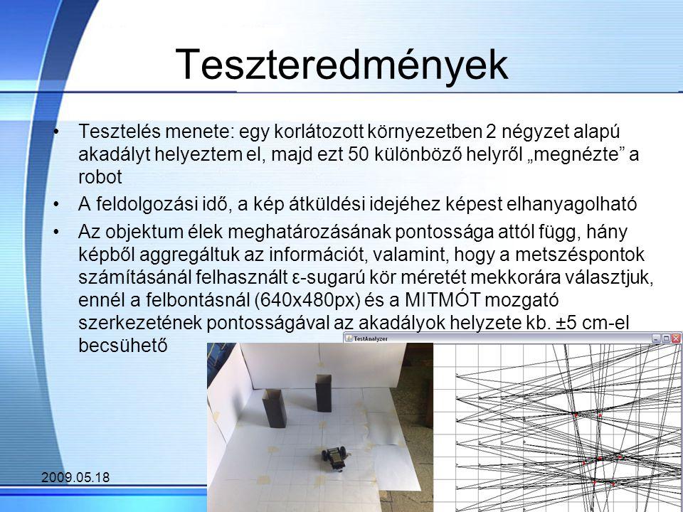 """2009.05.188 Teszteredmények Tesztelés menete: egy korlátozott környezetben 2 négyzet alapú akadályt helyeztem el, majd ezt 50 különböző helyről """"megnézte a robot A feldolgozási idő, a kép átküldési idejéhez képest elhanyagolható Az objektum élek meghatározásának pontossága attól függ, hány képből aggregáltuk az információt, valamint, hogy a metszéspontok számításánál felhasznált ε-sugarú kör méretét mekkorára választjuk, ennél a felbontásnál (640x480px) és a MITMÓT mozgató szerkezetének pontosságával az akadályok helyzete kb."""