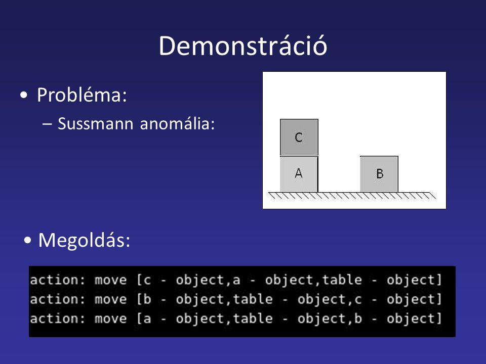 Demonstráció Probléma: –Sussmann anomália: Megoldás: