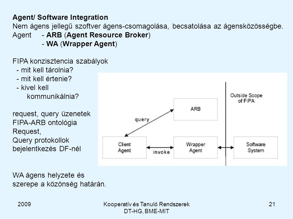 2009Kooperatív és Tanuló Rendszerek DT-HG, BME-MIT 21 Agent/ Software Integration Nem ágens jellegű szoftver ágens-csomagolása, becsatolása az ágensközösségbe.