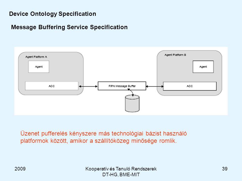 2009Kooperatív és Tanuló Rendszerek DT-HG, BME-MIT 39 Device Ontology Specification Message Buffering Service Specification Üzenet pufferelés kényszere más technológiai bázist használó platformok között, amikor a szállítóközeg minősége romlik.