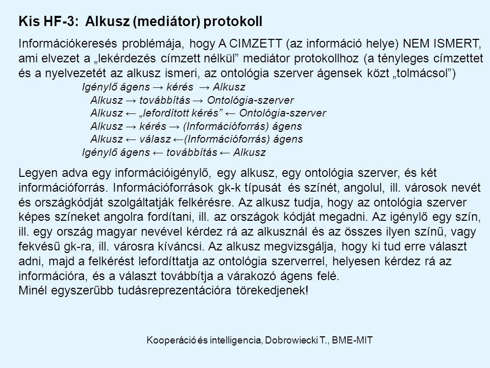 """Kis HF-3: Alkusz (mediátor) protokoll Információkeresés problémája, hogy A CIMZETT (az információ helye) NEM ISMERT, ami elvezet a """"lekérdezés címzett nélkül mediátor protokollhoz (a tényleges címzettet és a nyelvezetét az alkusz ismeri, az ontológia szerver ágensek közt """"tolmácsol ) Igénylő ágens → kérés → Alkusz Alkusz → továbbítás → Ontológia-szerver Alkusz ← """"lefordított kérés ← Ontológia-szerver Alkusz → kérés → (Információforrás) ágens Alkusz ← válasz ←(Információforrás) ágens Igénylő ágens ← továbbítás ← Alkusz Legyen adva egy információigénylő, egy alkusz, egy ontológia szerver, és két információforrás."""