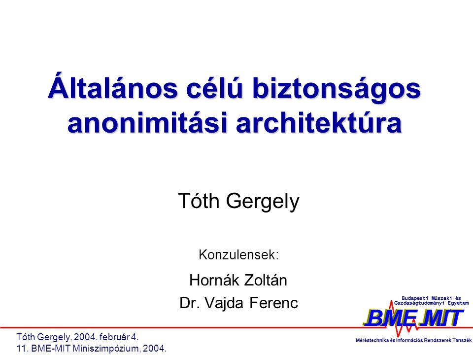 Tóth Gergely, 2004. február 4. 11. BME-MIT Miniszimpózium, 2004. Általános célú biztonságos anonimitási architektúra Tóth Gergely Konzulensek: Hornák