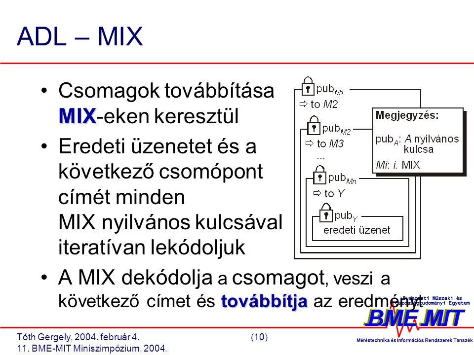 Tóth Gergely, 2004. február 4.(10) 11. BME-MIT Miniszimpózium, 2004. ADL – MIX MIXCsomagok továbbítása MIX-eken keresztül Eredeti üzenetet és a követk