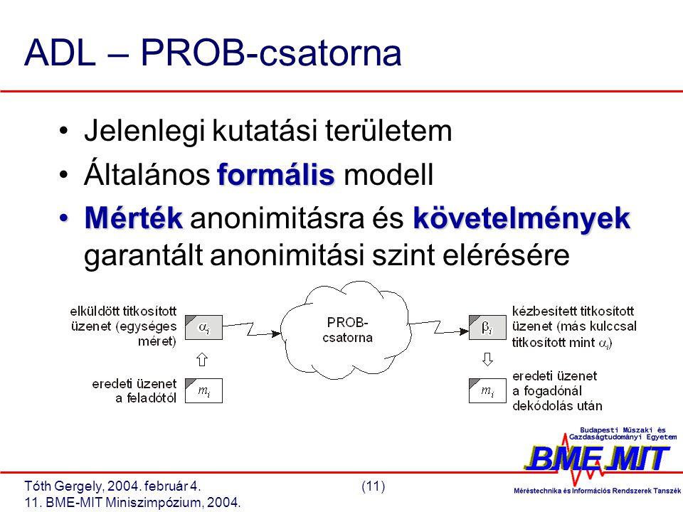 Tóth Gergely, 2004. február 4.(11) 11. BME-MIT Miniszimpózium, 2004. ADL – PROB-csatorna Jelenlegi kutatási területem formálisÁltalános formális model