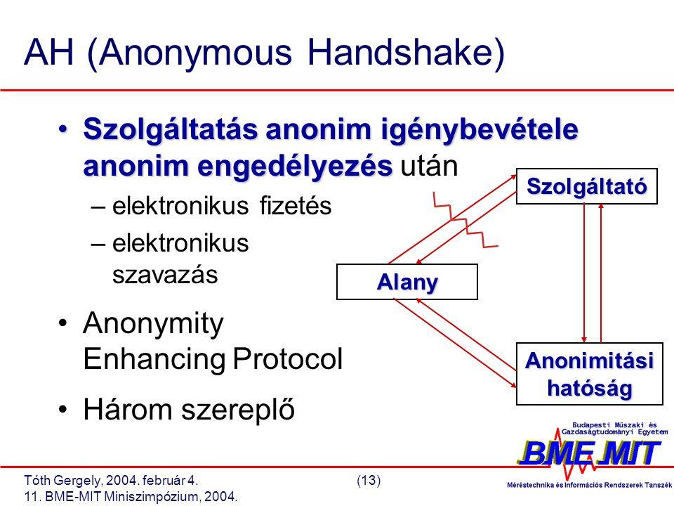 Tóth Gergely, 2004. február 4.(13) 11. BME-MIT Miniszimpózium, 2004. AH (Anonymous Handshake) Szolgáltatás anonim igénybevétele anonim engedélyezésSzo