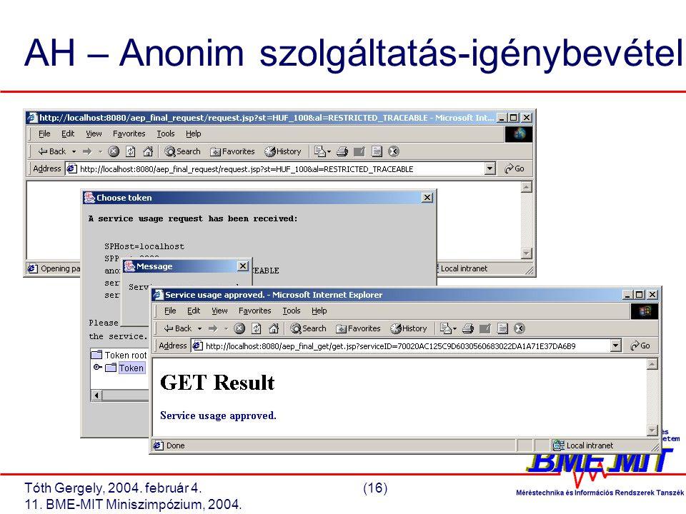 Tóth Gergely, 2004. február 4.(16) 11. BME-MIT Miniszimpózium, 2004. AH – Anonim szolgáltatás-igénybevétel